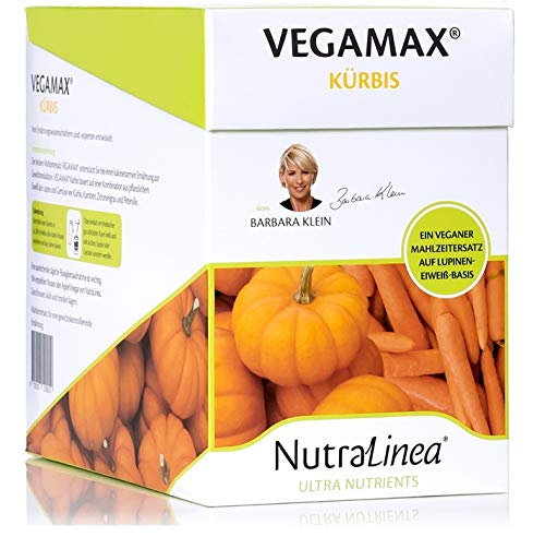 NaturaLinea VEGAMAX Vegane Mahlzeit auf Lupinen Eiweiß Basis als Suppe, Brei oder Getränk mit Vitaminen und Minearlstoffen, kalt oder warm 12er Box á 54g (Kürbis)