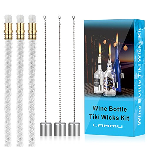 LANMU Wine Bottle Torch Wicks,Patio Torches,Citronella Torches,Backyard Torches,Outdoor Torches Lights,Oil Lamps Replacement Wicks,Wine Bottle Torch Hardware Kit,DIY Homemade Torch Decor (3 Pack)