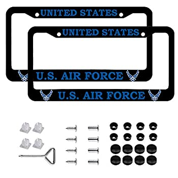 US Air Force License Plate Frame Black Aluminum USAF Veteran License Plate Holder License Plate Protection with Screw Set