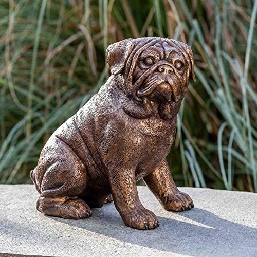 IDYL Escultura de perro de bronce   29 x 18 x 27 cm   Figura de animal de bronce hecha a mano   Escultura de jardín o salón   Artesanía de alta calidad   Resistente a la intemperie