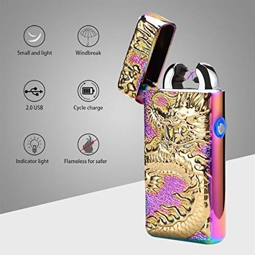 ARCLAND Mechero eléctrico de doble arco encendedor electrónico recargable por USB, sin llama, resistente al viento con caja de regalo, Rainbow Dragon Led button