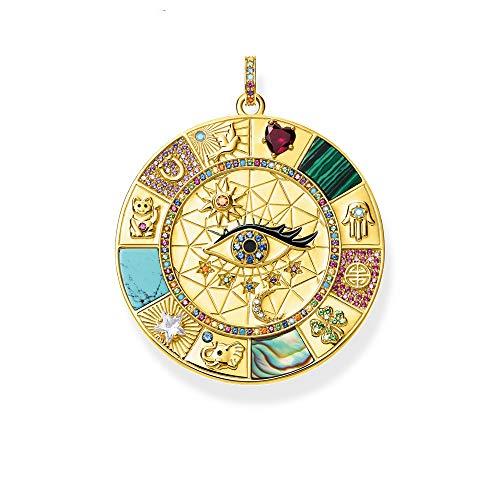 AJESLU Anhänger Amulett Magische Glückssymbole, 2020 Sommer Goldener Schmuck Vintage Pure 925 Sterling Silber Kraftvolles Geschenk Für Ts Frauen Männer
