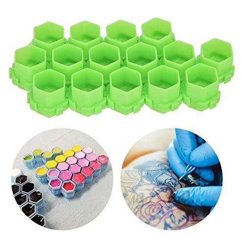200pcs vente chaude plusieurs tasses d'encre de tatouage Cup tasses de support de pigment de forme de nid d'abeille , maquillage permanent fournit le petit récipient de colorant accessoires(vert)