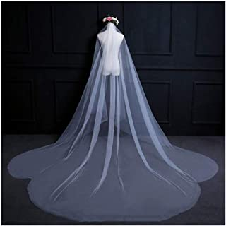 Bridal Veil Flower Cut Edge Bride Veils Long Chapel Cathedral Veil Wedding Hair Accessories 1Tier Without Comb For Women A...