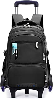 BOZEVON Children's Trolley Backpack - Students Outdoor Dual-use Bookbag Detachable Trolley School Bag with Wheels, Black