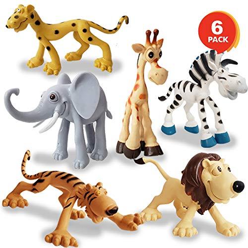 ArtCreativity Cartoon Animals Figurines for Kids - Set of 6 - Cute Cartoonish Design - Durable Plastic Play Set - Cool Storage Box - Great Gift Idea, Safari and Jungle Favors for Boys and Girls