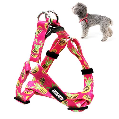 azuza No Pull Dog Harness, Basic Step in Puppy Harness, Adjustable Harness for Small Dogs with Cute Pineapple Patterns