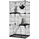 HCB Cat Kennel Cat Cage Ferret Cage Cat Houses Small Animal Pet Playpen 67' Height / 3 Front Doors / 2 Resting Cushion Beds / 2 Ramp Ladders Stairs / 1 Swing Hammock