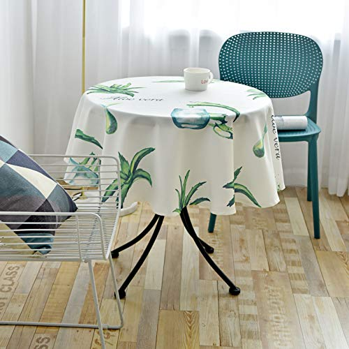 DHHY Chinese Printing Round Table Cloth, Polyester Washable Coffee Table Decoration Table Cloth, Kitchen Living Room Tea Table Cloth Table Mat
