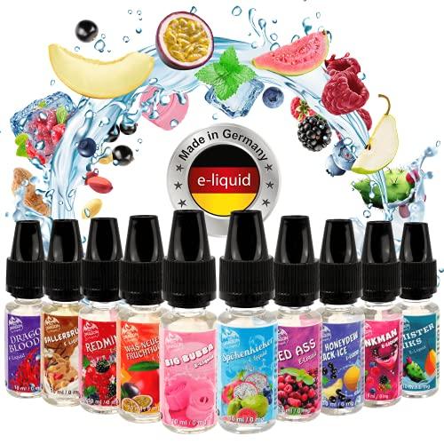 Riccardo E-Liquid Red Dragon Fruchtset 10x10 ml, e Liquid Set für e-Zigarette, 50 % PG / 50 % VG, 0 mg Nikotin