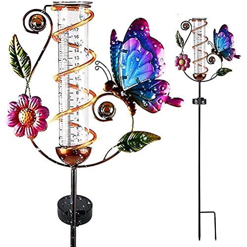 FSfhgEy Luz de estaca Solar de Mariposa con indicador de Lluvia, lámpara de decoración con Forma de Mariposa con energía Solar Vintage de Metal, Veleta para el jardín