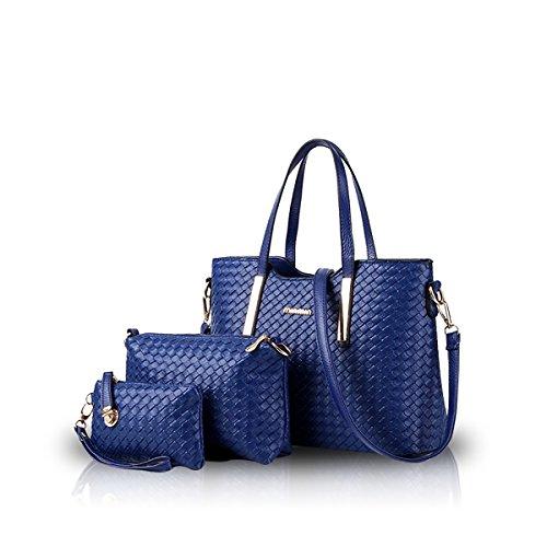 NICOLE & DORIS Damen Handtaschen 3 Stück Handtasche Set für Damen Totes Taschen Umhängetaschen Schultertaschen Blau
