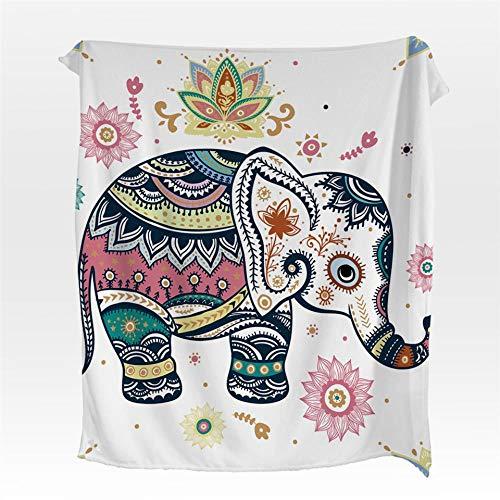 Manta de Franela de Elefante Mandala Flor Coral Fleece Manta para Camas Lanza Bohemio sábanas Calientes sofá Coverlet-150cmx200cm
