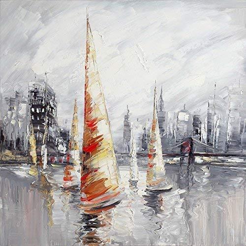 Tabella Barca Vela, Dimensione 100/100cm, Tabella quadrato, Pittura ad Olio su tela di cotone montata su telaio in legno. Nessun lavoro di stampa. Tabella firmato.