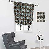 Cortinas de salón marrón y azul, patrón de rombos con líneas rectangulares en forma de diamante, cortinas abstractas geométricas para ventana, color marrón azulado, 76,2 x 162,6 cm