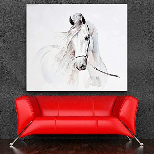 QianLei Embellezca la Pintura de la Acuarela de Animales andaluces del Caballo Imágenes del Arte de la Pared para la Sala de estar-60x75cm sin Marco