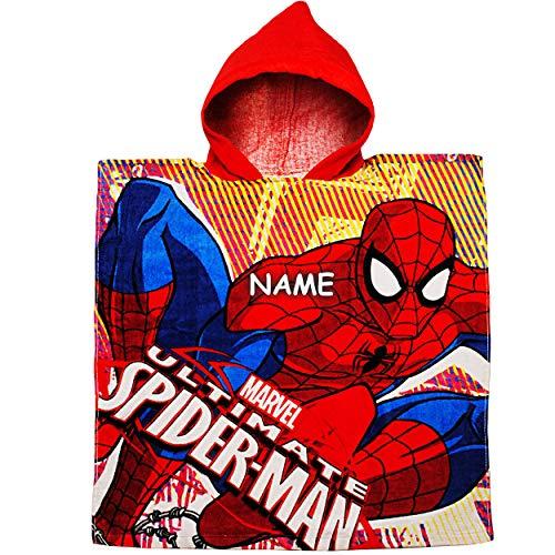 alles-meine.de GmbH Badeponcho / Kapuzenhandtuch - Spider-Man - inkl. Name - 100 % Baumwolle - 60 cm * 120 cm - 2 bis 8 Jahre Poncho - mit Kapuze - Frottee / Velours - Handtuch S..