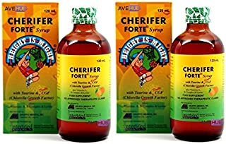 2 CHERIFER Forte Syrup with Taurine & Double Chlorella Growth Factor, Vitamins A, B-Complex & Lysine 120mL (2 x 120mL)