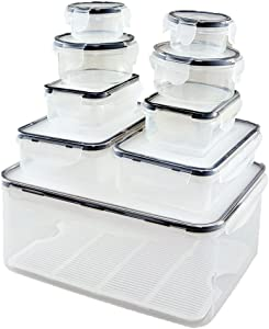 EZ KITCHEN 18 PCS Nest Locking Lid Food Storage Container Set, Leakproof and Airtight Plastic Lunch Box Set
