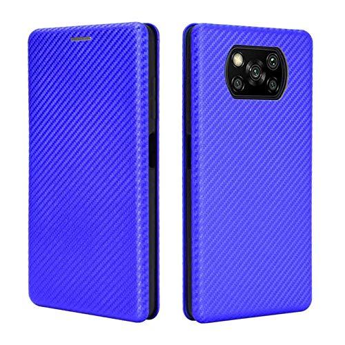 HAOTIAN Hülle für Xiaomi Poco X3 NFC/Poco X3 Pro Handyhülle Brieftasche, Schutzhülle mit Kartensteckplätzen Anti-Scratch PC Panel + Stoßfeste TPU Innenschutzabdeckung + Ring Halterungen. Blau