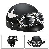 KKmoon Casco de Moto, Casco Abierto Half Helmet con Gafas Visor Bufanda para Biker Scooter Touring