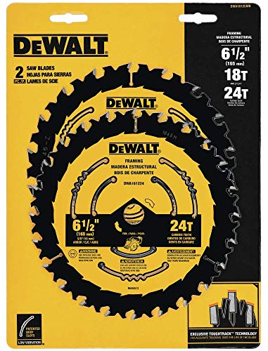 DEWALT DWA1612CMB 6-1/2-Inch 18/24-Tooth Circular Saw Blade, Combo 2-Pack