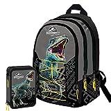Jurassic World Schoolpack Zaino Scuola Organizzato 3 Cerniere più Astuccio 3 Zip Completo di Cancelleria