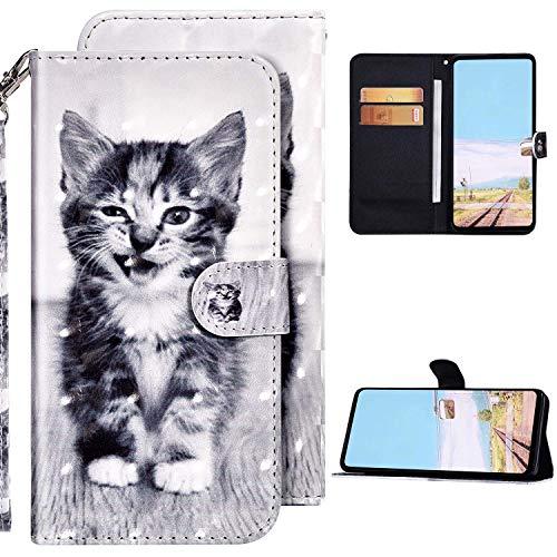 Kompatibel mit Huawei P20 Lite Hülle Ledertasche Brieftasche Schutzhülle Flip Case,3D Glänzend Bunt Bemalt Muster PU Leder Klapphülle Tasche Handyhülle für Huawei P20 Lite,Katze