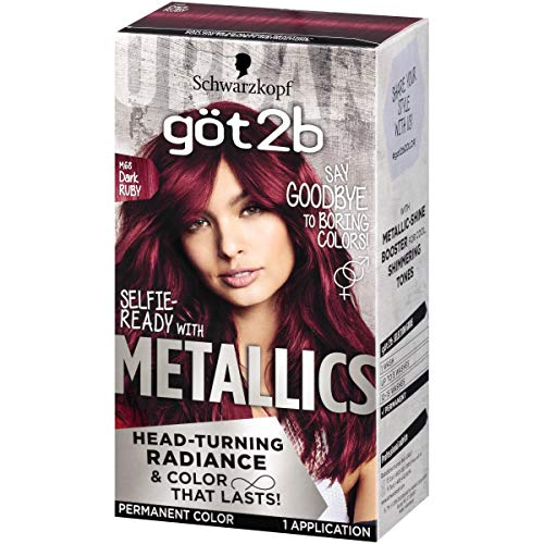 Got2b Metallic Permanent Hair Color, M68 Dark Ruby