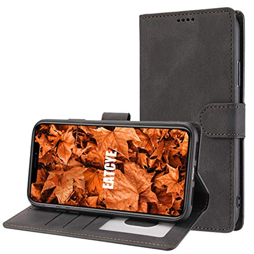 EATCYE Hülle für iPhone 12 Mini,Handyhülle für iPhone 12 Mini (5,4 Zoll),Ultra Dünn Elegant Brieftasche PU Leder Flip Case Magnetverschluss Handytasche Klapphülle Schutzhüllen (Schwarz)