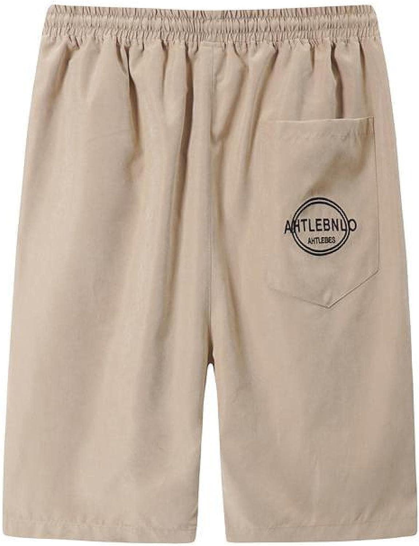 Segindy Men's Elasticated Waist Shorts Summer Loose Comfortable Breathable Fitness