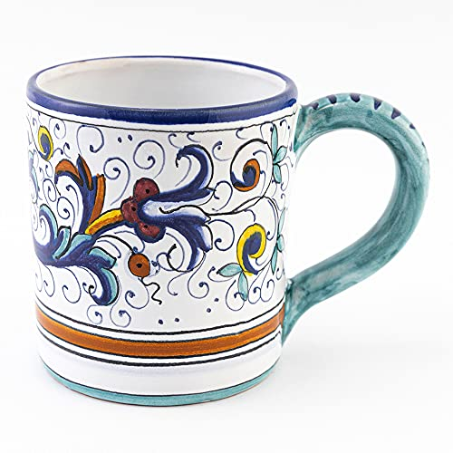 Hand Painted Italian Ceramic Mug Ricco Deruta Blu - Handmade in Deruta Italy