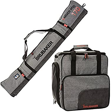 BRUBAKER Combo Ski Boot Bag and Ski Bag for 1 Pair of Ski, Poles, Boots, Helmet, Gear and Apparel - (170 cm) 66 7/8  - Gray
