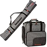 BRUBAKER Combo Ski Boot Bag and Ski Bag for 1 Pair of Ski, Poles, Boots, Helmet, Gear and Apparel - (170 cm) 66 7/8' - Gray