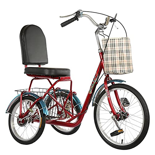 ZFF Tricycle For Adults With CargoBasket 3 Wheel Bikes Seniors Cruiser Bike Front Drive Pedal Three-Wheeled Bicycles For Women Men Beginner