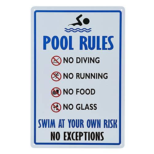 """dojune - Pool Rules Schild mit Aufschrift """"No Diving No Running No Food No Glass"""", einfach zu montieren."""