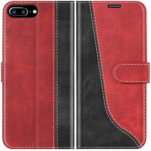Mulbess Funda para iPhone 8 Plus, Funda iPhone 7 Plus, Funda con Tapa iPhone 8 Plus, Funda iPhone 8 Plus Libro, Funda Cartera para iPhone 8 Plus Carcasa, Vino Rojo