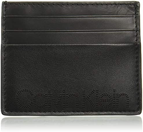 Calvin Klein Men s Card Case with Perforated Logo black 1 Size product image
