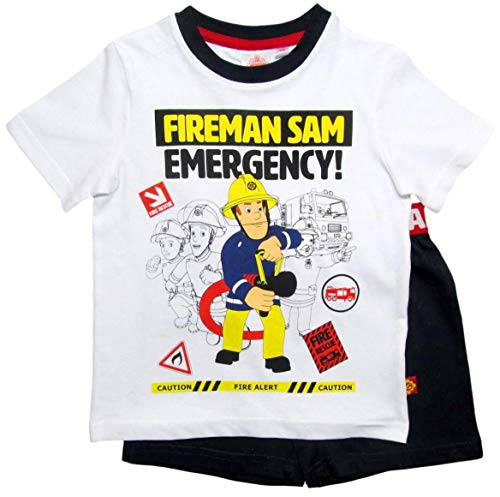 Feuerwehrmann Sam Schlafanzug Shorty Jungen (Blau-Weiß, 104-110)