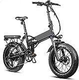Bicicleta Eléctrica Bicicleta de neumáticos de grasa eléctrica plegable 20 pulgadas * 4.0 Batería de litio extraíble Bici de playa eléctrica profesional 8 veloz Adulto 750W Bicicleta Frenos hidráulico