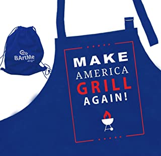 Bartme Design - BBQ Grilling Funny Apron - Attitude Men Aprons - Fully Adjustable - Donald Trump - Make America Grill Again - Wrapped in a Gift Backpack