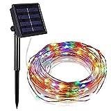 TIMAW Cadena de luces solares de alambre de cobre para...