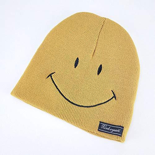 geiqianjiumai Baby-wollen hoed voor kinderen effen kleur smiley gebreide muts jongens en meisjes warme oordopjes