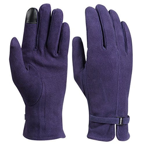 Womens Winter Gloves - Deerskin Leather and Touchscreen Fingers(Purple,Large)