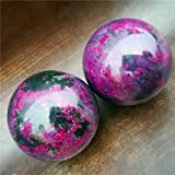 HSHDG Bola Baoding de ágata Natural, Bola de Fitness, Balonmano de Jade, Bola de Agarre de Fitness, púrpura, descompresión de Masaje, diámetro 5 cm, promueve la circulación sanguínea