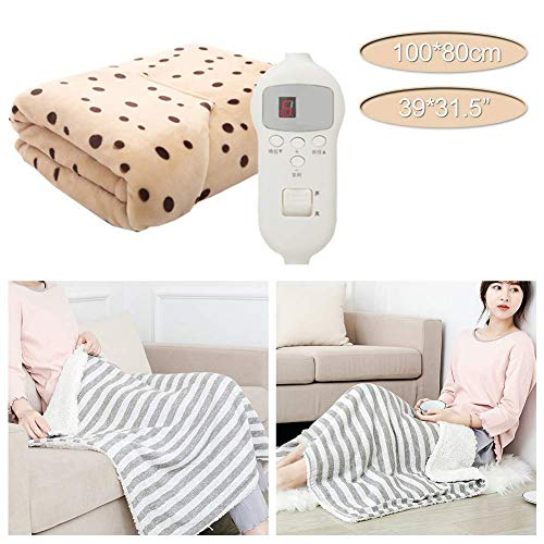 Nfudishpu Electric Blanket - 100 x 80cm - Built In Advanced Overheat Protection System with Auto Safety Shut Off - Fast Heat Up Time - Machine Washable and Safe For bedroom