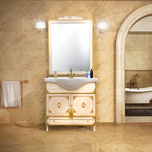 SHOP CHIC Completo Bagno Mobile con lavabo e specchiera in Stile Barocco Avorio e Oro per Piccoli spazi