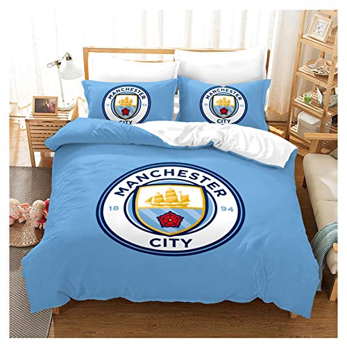 HOXMOMA Manchester City F.C. Duvet Cover with Pillowcases, 3D Manchester City Football Club Bedding Set, Decorative Quilt Covers for Football Fans,Blue,EU 260×220 cm