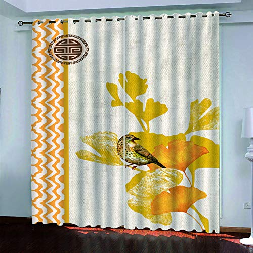 YUNSW 3D Digital Big Tree Curtains, Two-Piece Perforated Curtains, Decorative Curtains For Living Room, Bedroom, Garden And Kitchen