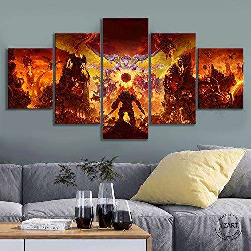 VENDISART,Leinwanddrucke,Modulare Wandkunst Wandaufkleber,5 Teiliges Wandbild,Doom 4 Videospiele,Mit Rahmen,Größe:M/B=150Cm,H=80Cm